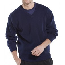 ACRYLIC V-NECK NAVY SWEATER